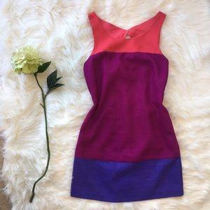 Oleg Cassini Colorblock Dress Size 4 Work Bright